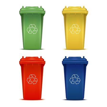 Realistic 3d Detailed Color Bins with Recycle Signs Set.
