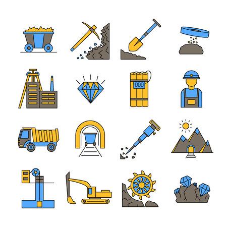 Diamant mijnbouw tekenen kleur Icon Set. Vector Illustratie