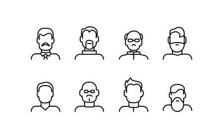 Conjunto de iconos de delgada línea de signos de varios tipos de rostro masculino.