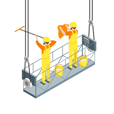Cleaning Professional Worker Washed on a White 3d Isometric View. Vector