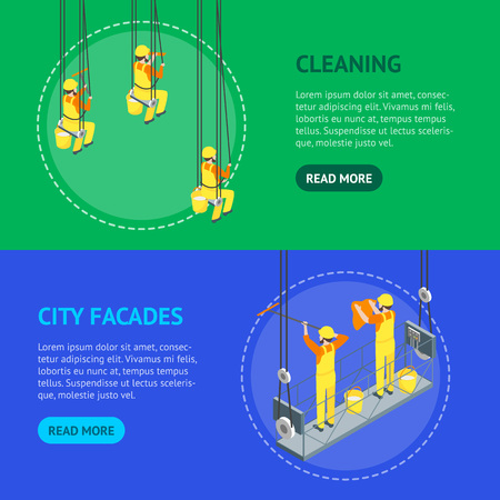 Cleaning Professional Worker Washed Window Concept Banner Horizontal Set 3d Isometric View. Vector