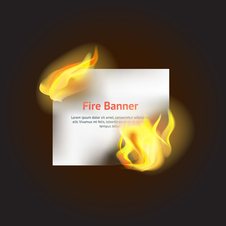Realistic Detailed 3d Fire Banner with Hot Flame Element. Vector