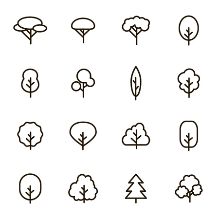 Trees Signs Black Thin Line Icon Set Include of Pine, Oak and Firtree. Vector illustration of Icons