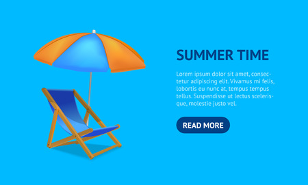 Realistic Detailed 3d Sun Bed Chair Card. Vector
