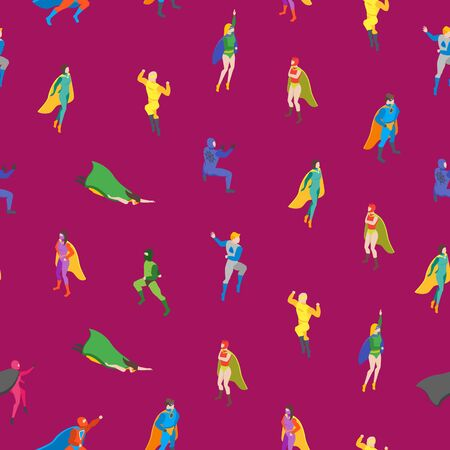 Cartoon Characters People Super Heroes Seamless Pattern Background. Vector