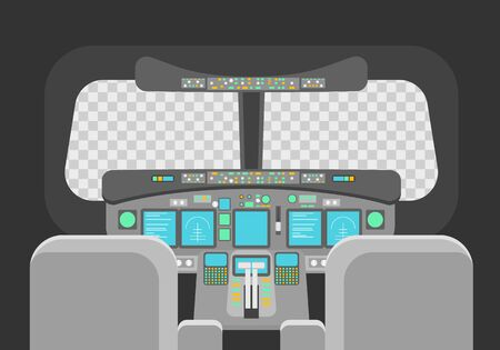 Cartoon Pilots Cockpit Empty Template Concept. Vector