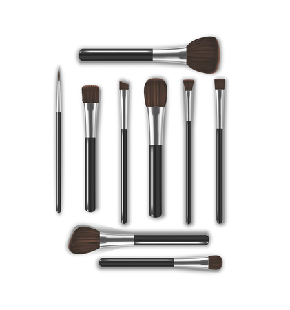 Realistic Detailed 3d Makeup Tools Brush. Vector
