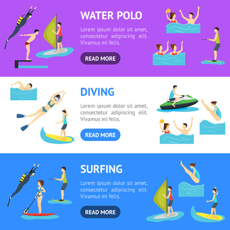 Cartoon Water Sport and Characters People Banner Horizontal Set. Vector