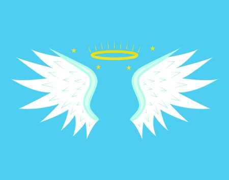 Cartoon Angel Wings on a Blue Background. Vector Иллюстрация