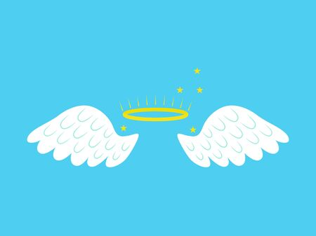 Cartoon Angel Wings Freedom Concept Element Flat Design Style on a Blue Background. Vector illustration of Fluffy Wing