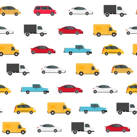 Cartoon Color Modern Car Seamless Pattern Background. Vector