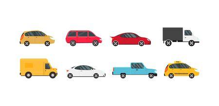 Cartoon Color Modern Car Icons Set. Vector