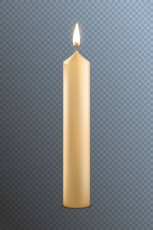 Realistic Detailed 3d Candle on a Transparent Background. Vector