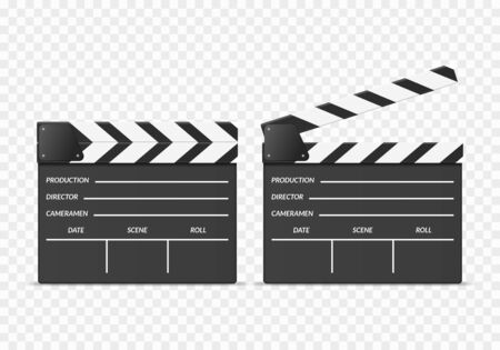 Realistic 3d Detailed Clapper Boards Set. Vector