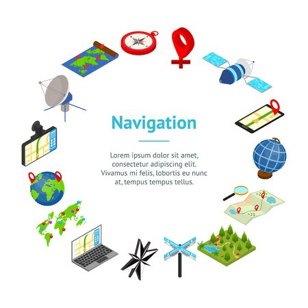Navigation Methods Tools Signs 3d Banner Card Circle Isometric View Include of Map and Compass. Vector illustration of Icon