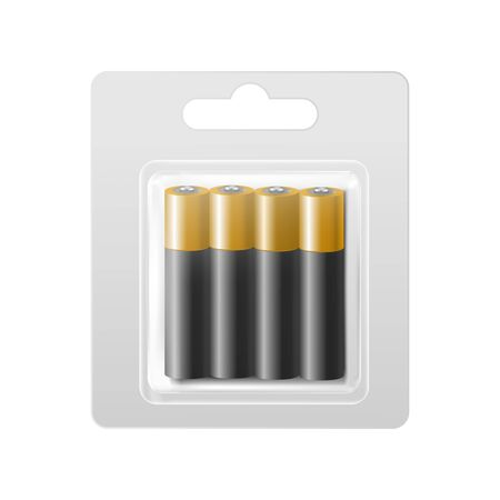Realistic Detailed 3d Batteries in Blister. Vector