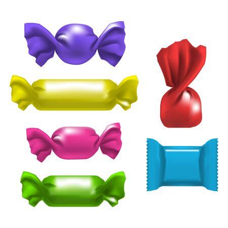 Realistic Detailed 3d Color Blank Foil Pack Candies Template Mockup Set. Vector illustration of Package Mock Up