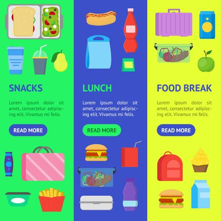 Cartoon Color School Lunch Food Boxes Banner Vecrtical Set. Vector