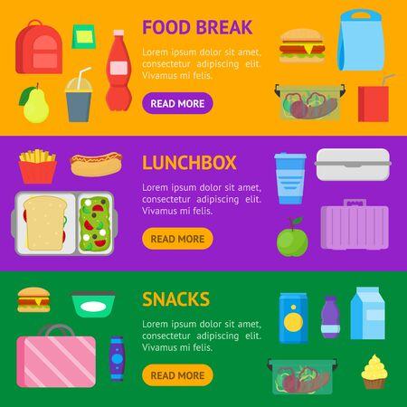 Cartoon Color School Lunch Food Boxes Banner Horizontal Set. Vector