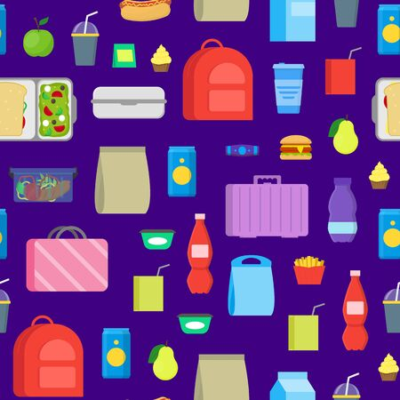 Cartoon Color School Lunch Food Boxes Seamless Pattern Background. Vector