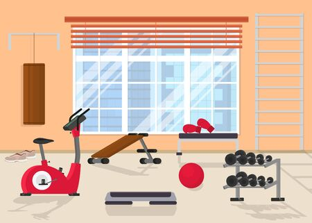 Cartoon Interior Inside Home Gym with Window. Vector