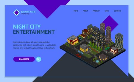 Night City District Concept Landing Web Page Template 3d Isometric View. Vector