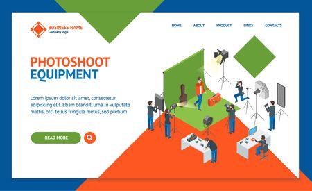 Photo Studio Interior Landing Web Page Template Isometric View. Vector