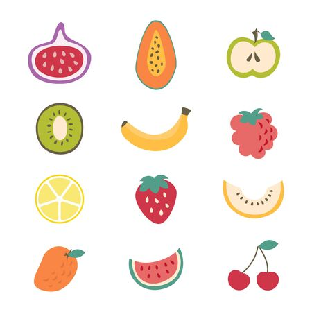 Cartoon Color Different Types Fruits Icon Set. Vector Illustration