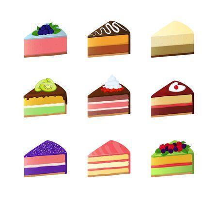 Cartoon Color Sweet Cake Dessert Slice Icon Set. Vector