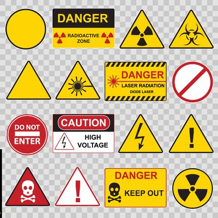 Color Warning Danger Signs Icon Set. Vector