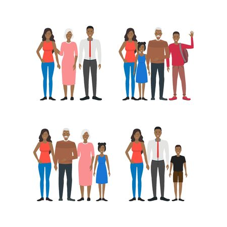 Cartoon Characters People African American Group Set. Vector Illusztráció