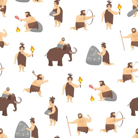 Cartoon Characters Caveman Cute People Seamless Pattern Background. Vector