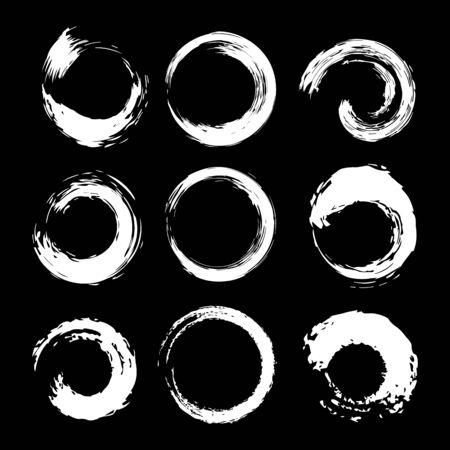 White Circles Shape Brush Strokes Set. Vector Illusztráció