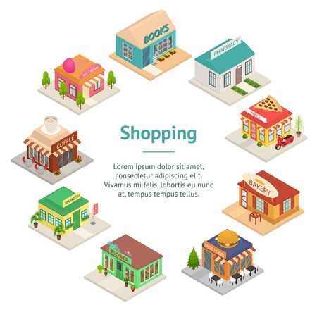 Commercial City Shops Signs 3d Banner Card Circle Isometric View. Vector