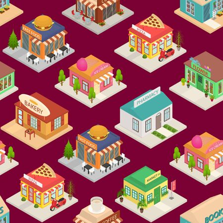 Commercial City Shops Signs 3d Seamless Pattern Background Isometric View. Vector Stock Illustratie