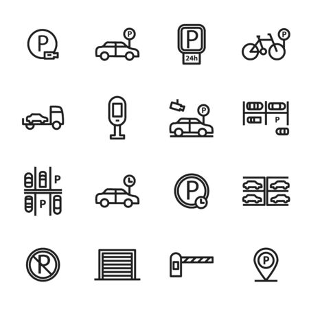 Parking Sign Black Thin Line Icon Set Include of Car, Area, Bicycle and Pointer. Vector illustration of Icons Çizim