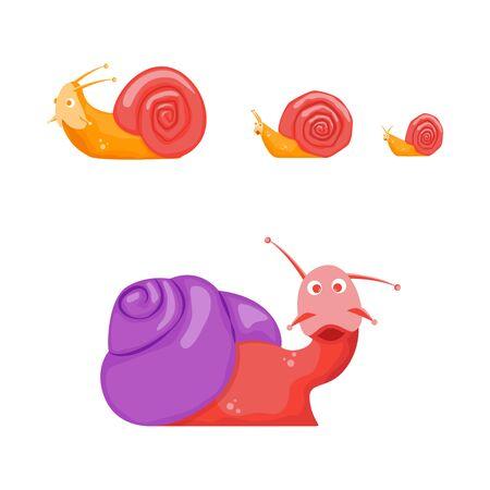 Cartoon Color Characters Funny Snails Set. Vector