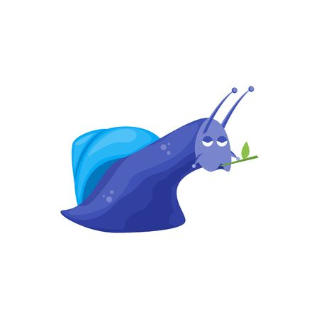 Cartoon Color Character Funny Snail on a White. Vector Çizim