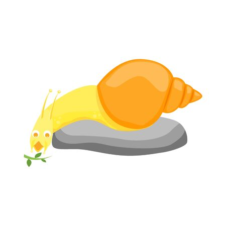 Cartoon Color Character Funny Snail on a White. Vector Illustration