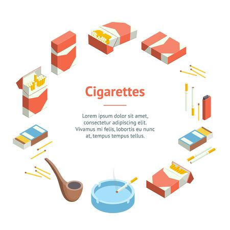 Cigarettes Accessories Smokers Signs 3d Banner Card Circle Isometric View Include of Cigar and Pipe. Vector illustration of Icons Çizim