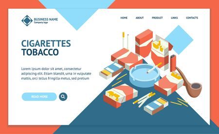 Cigarettes Accessories Smokers 3d Landing Web Page Template Isometric View. Vector
