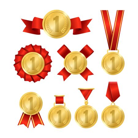 Realistic 3d Detailed Golden Award Medal Set. Vector