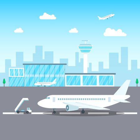 Airport Passenger Terminal Concept on a Landscape Background Scene. Vector Ilustração
