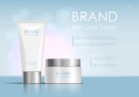 Cosmetic Product Tube Ad Concept Card Background. Vector