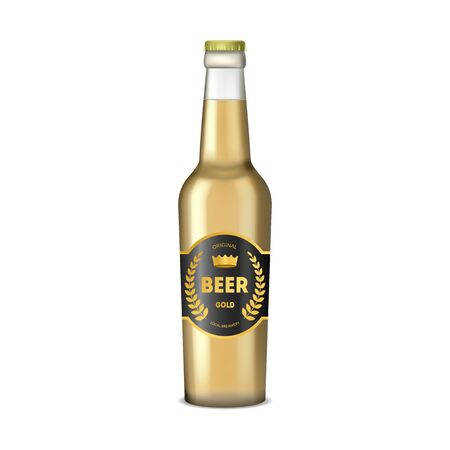 Realistic Detailed 3d Transparent Glass Beer Bottle. Vector