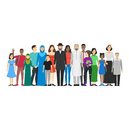 Cartoon Characters People National Family Crowd. Vector 일러스트