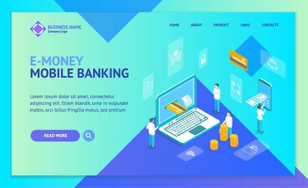 Mobile Bank Payment Technology Concept Landing Web Page Template 3d Isometric View. Vector Stock fotó - 129791899