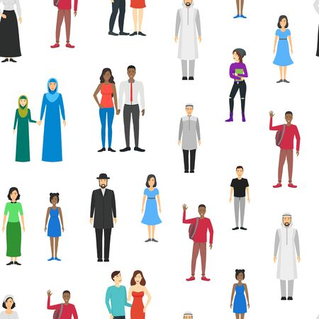 Cartoon Characters Different Nationals Families Seamless Pattern Background. Vector