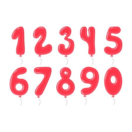 Red Balloons with Numbers Decoration Elements Set. Vector