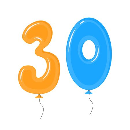 Color Balloons with Numbers Thirty Decoration Elements Set. Vector